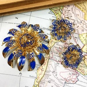 Vintage Gold Tone Filigree & Blue Enamel Set